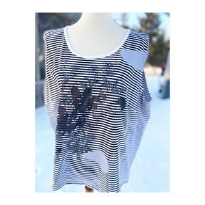 Mac and Jac Striped Floral Tank Top Casual Active